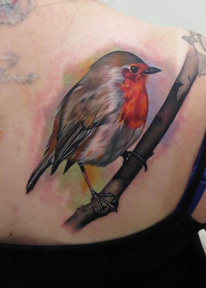 Red robin bird tattoo - photo#2