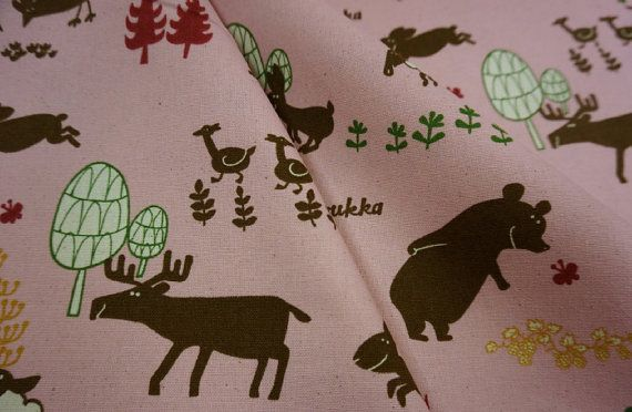 Animals in forest pink fat quarter pure cotton fabric