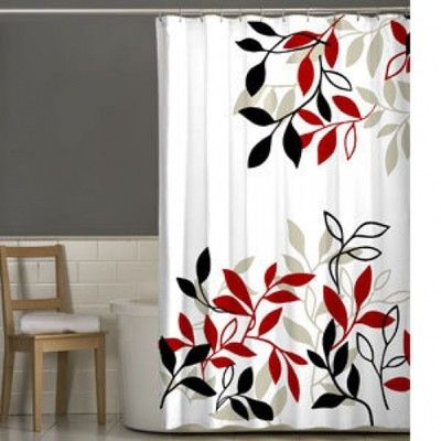 Ways To Hang Curtains Red and Gray Shower Curtain