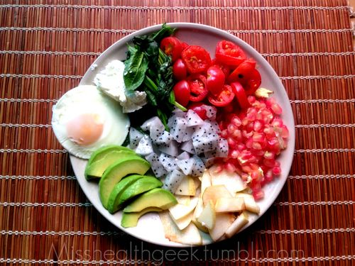 Brunch - avocado, poached egg, sauteed spinach and tomatoes with ...