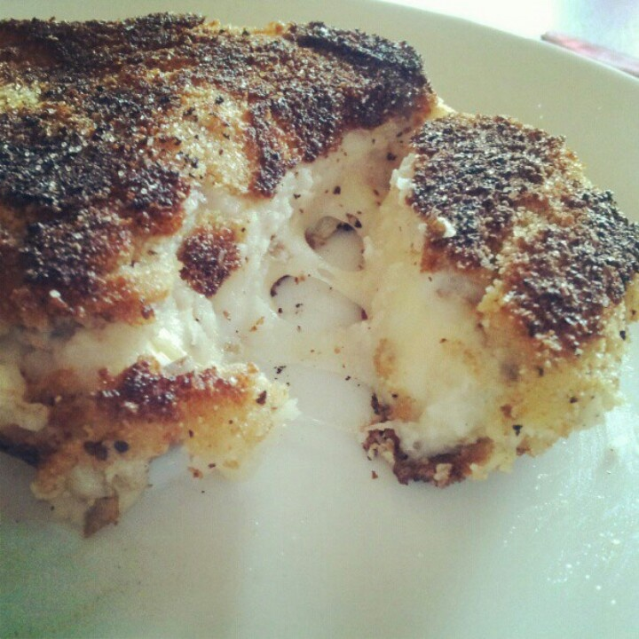 made two mashed potato patties put a slice of smoked gouda in the ...