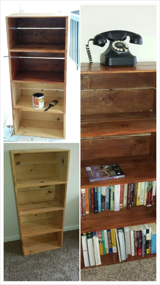 Book shelf made out of wooden crates baby pinterest for Shelves made out of crates