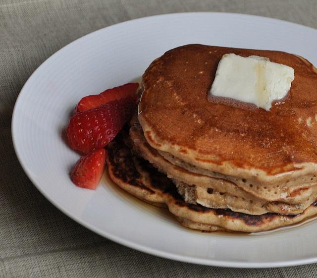 Gingerbread oatmeal pancakes. Secret ingredient: brewed coffee...very ...