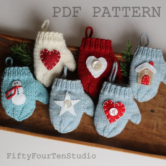 Knitting Pattern For Xmas Ornaments : Christmas knit PATTERN knitting mitten ornament PDF ...