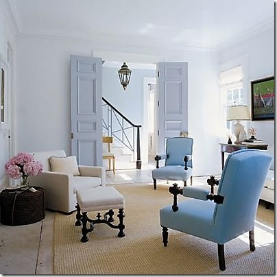 neutral/blues/pink flowers. blue french doors. Interior Design. Pinned by interior designer Anna Hackathorn www.annahackathorn.com
