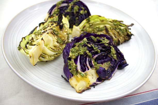 Grilled Cabbage with Lime-Herb Dressing