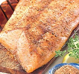 Cedar Plank Grilled Salmon with Lemon Paprika Butter and a side dish ...