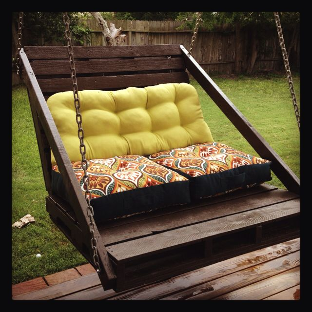 Porch swing made out of 2 grass pallets. Made by a woman! Girl power!