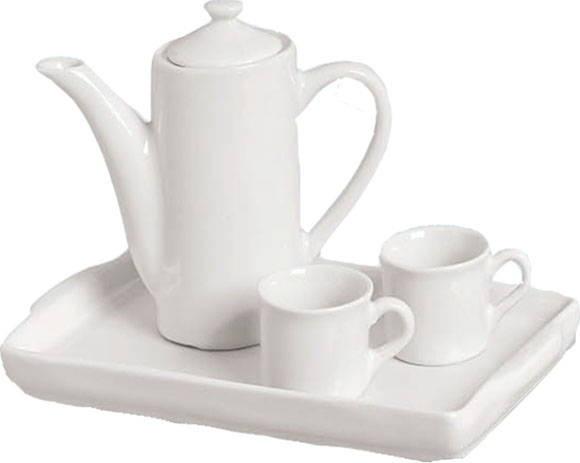Jogo em porcelana branca 4 peças - Bule - Bandeja - par de xícaras