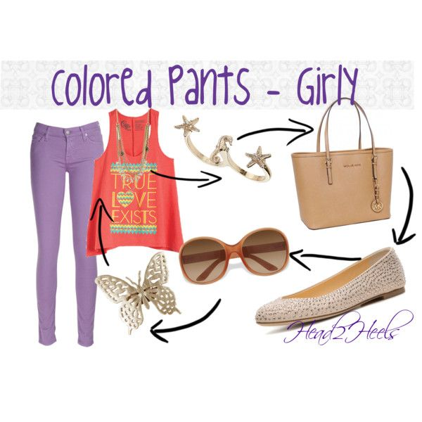"""Colored Pants - Girly"" by head2heels on Polyvore"