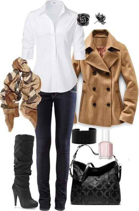 dark jeans,white shirt,camel color coat,boots and scarf