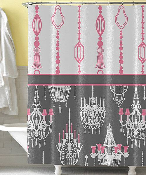 Pink Gray Chandelier Shower Curtain
