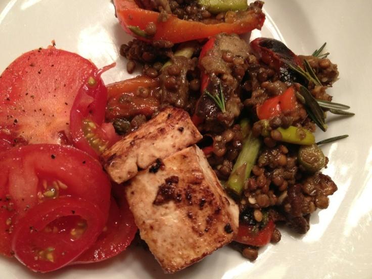 Grilled veggies (bell pepper, eggplant, mushroom, asparagus), lentils ...