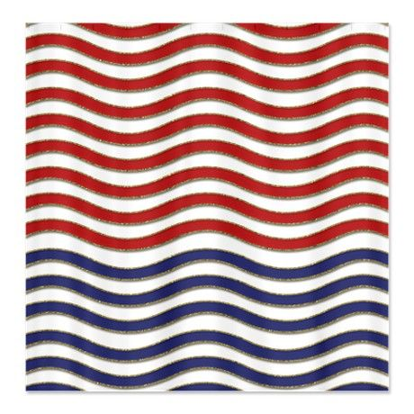 Red White And Blue Waves Shower Curtain On