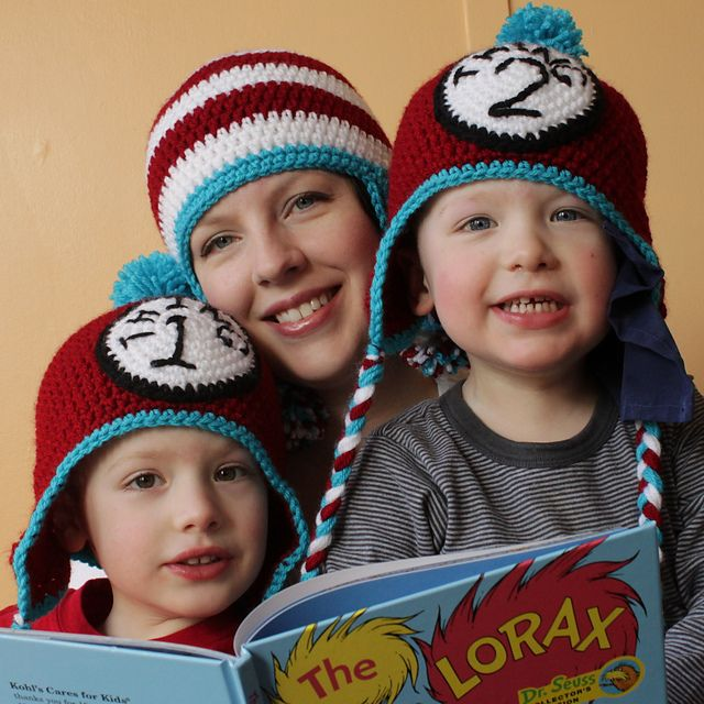 Free Crochet Thing 1 & Thing 2 Hat pattern.