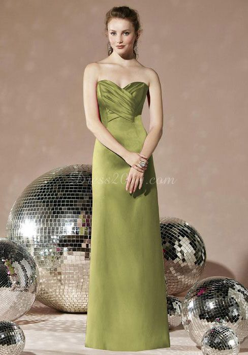 Green strapless long party dress bridesmaid evening prom junior