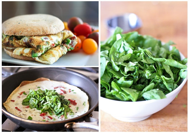 Kicked Up Spinach and Sun Dried Tomato Omelet Sandwich | The Healthy ...