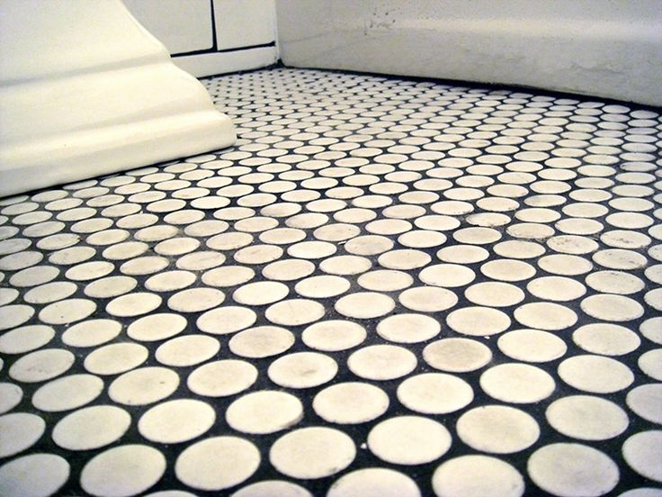white penny tile floor with black grout | For the Home