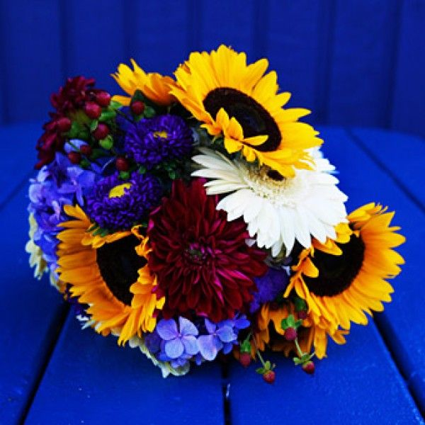 Sunflower Yellow And Blue Bridal Bouquet