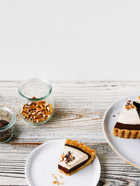 Chocolate mousse pie with peanut butter whip + pretzel crust by Ashlae | oh, ladycakes,