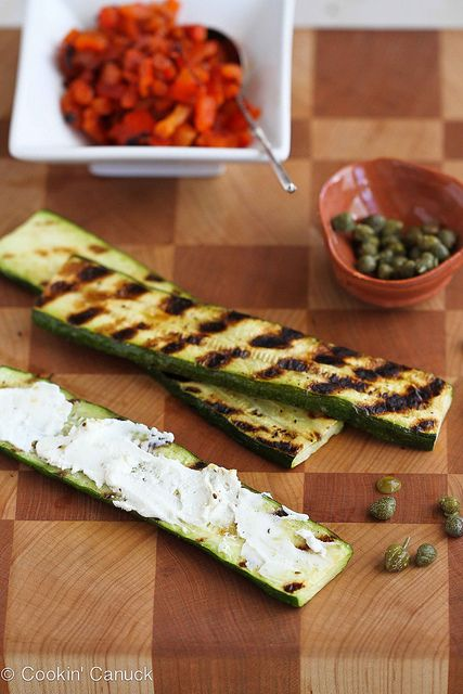 Grilled Zucchini Roll Recipe with Goat Cheese, Roasted Peppers & Cape ...