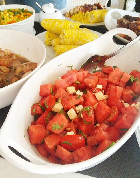 Tomato, watermelon, and feta salad | S^4 | Pinterest