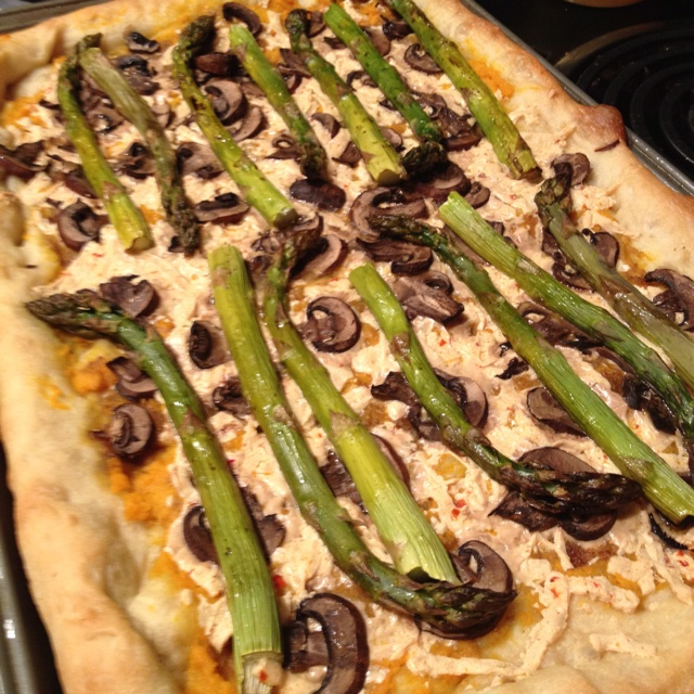 Sweet potato, roasted asparagus, and mushroom pizza (vegan)