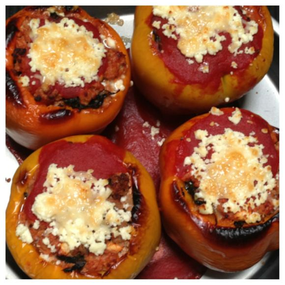 Turkey, kale, and feta stuffed peppers   lovefoodtoomuch   Pinterest