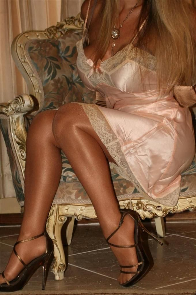 Sheer Shimmer Pantyhose Pink Full Slip and Black Strappy High Heels ...