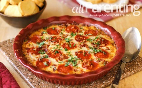 Four Layer Pizza Dip | appetizers | Pinterest