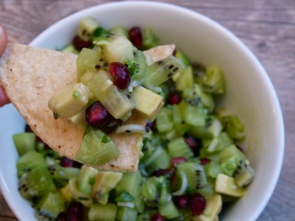 kiwi salsa with pomegranate and avocado served with chips chicken ...