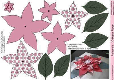 Deep Pink Poinsettia - 3D Paper Flower | Glass | Pinterest