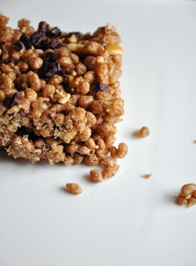 brown rice crispy treats with cacao nibs   small bites & food for a g ...