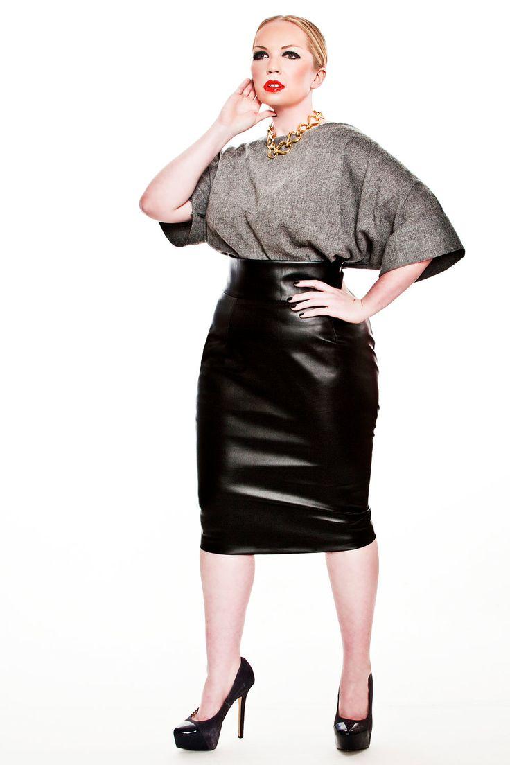 jibri plus size faux leather high waist pencil skirt