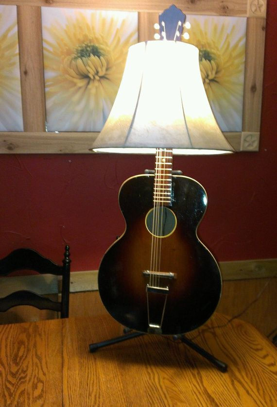 Man Cave Music Room : Guitar lamp reclaimed man cave music room