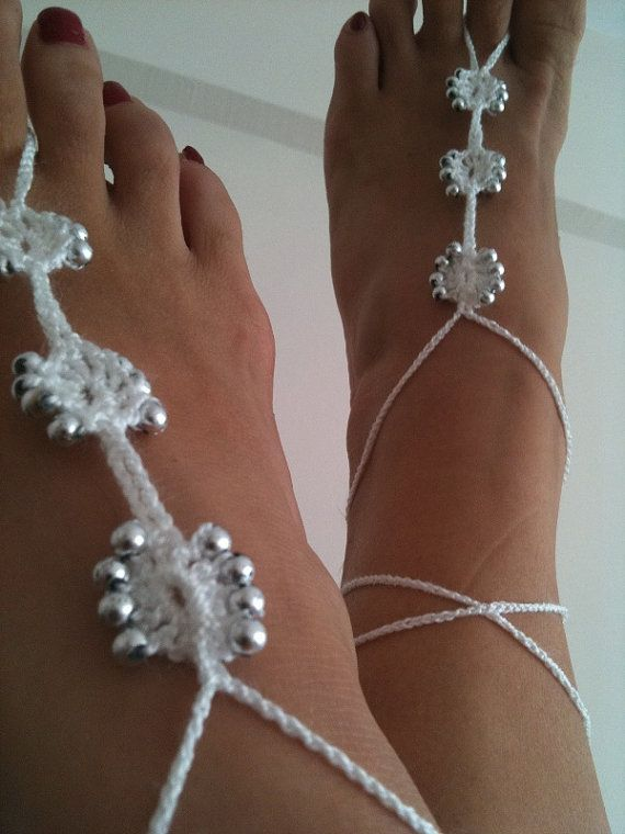 Wedding White  Barefoot Sandals with silvery  by ArtofAccessory, $15.00