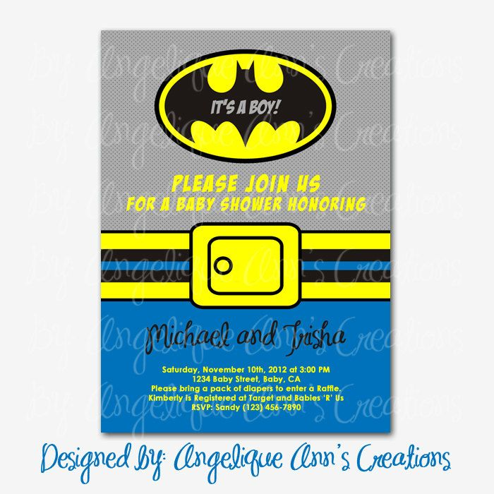 batman baby shower invitations diy printable by jayarmada2 on etsy