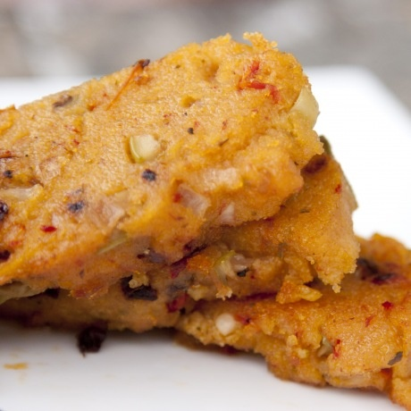 Olive and Sun Dried Tomatoes Polenta Wedges - Vegan