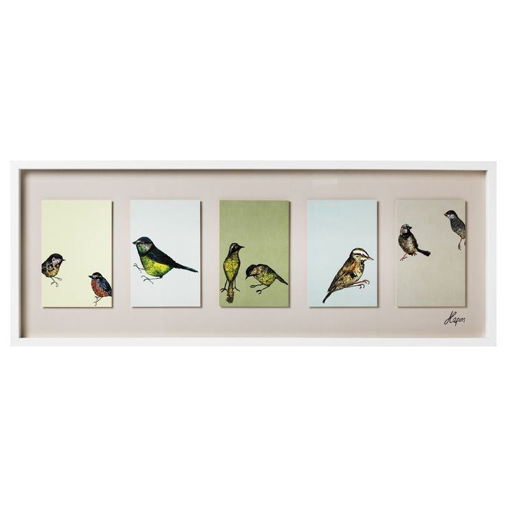 Each bird is partially a decoupage of a map which is difficult to see
