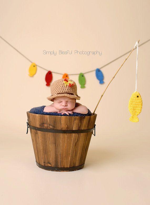 Crochet newborn fishing setfisherman hatfishing by for Toddler fishing hat