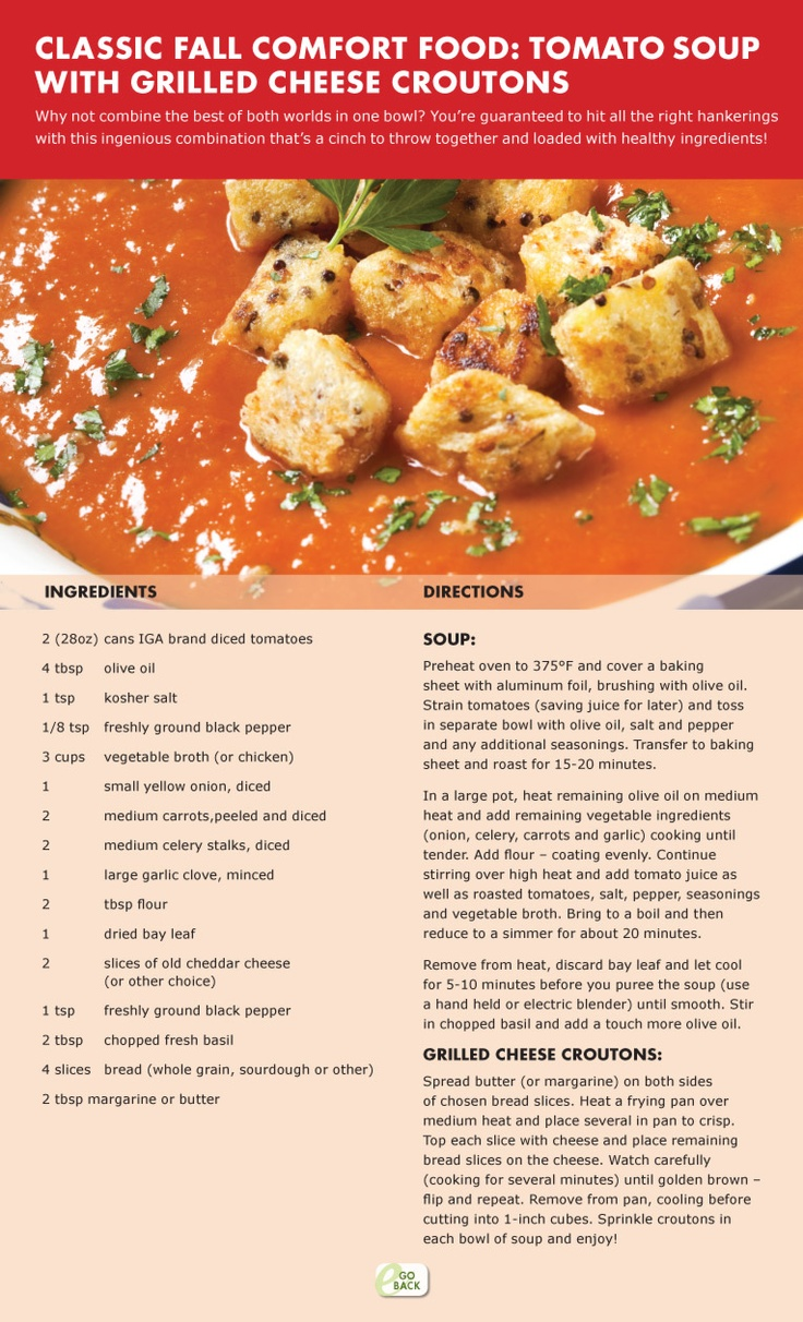 Tomato Soup with Grilled Cheese Croutons | soup | Pinterest