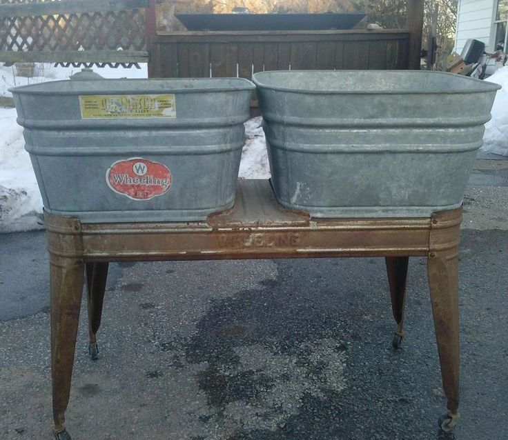 Vintage Wheeling Double Galvanized Wash Tubs with Stand