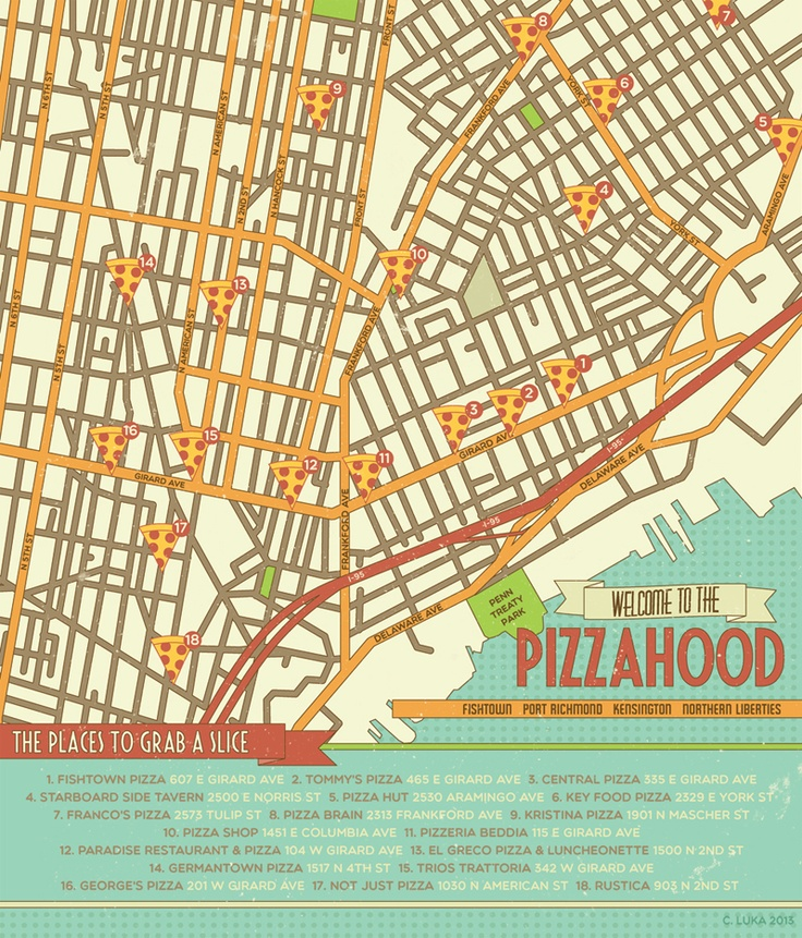 Fishtown Philadelphia Pizza Map Philly  Map Art  Pinterest