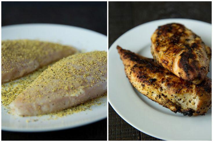 Lemon pepper chicken caesar salad with creamy caesar dressing and ...