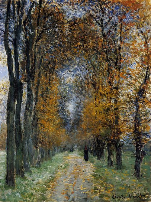 I want to get lost within my own mind while walking this road... The Avenue, 1878, Claude Monet.