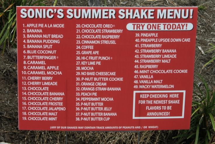 Milkshake flavors list