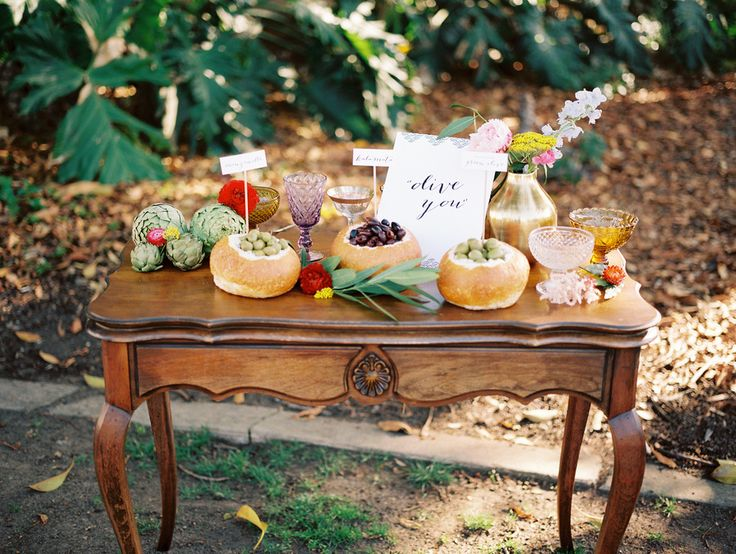 an olive bar - yum! Photography: Chelsea Scanlan Photography - chelseascanlan.com, Design and Styling by http://bonwed.com, Florals by Rosy & Impatiens   Read More: http://stylemepretty.com/2013/10/08/jewel-tone-inspiration-shoot-from-chelsea-scanlan-bon-wed/