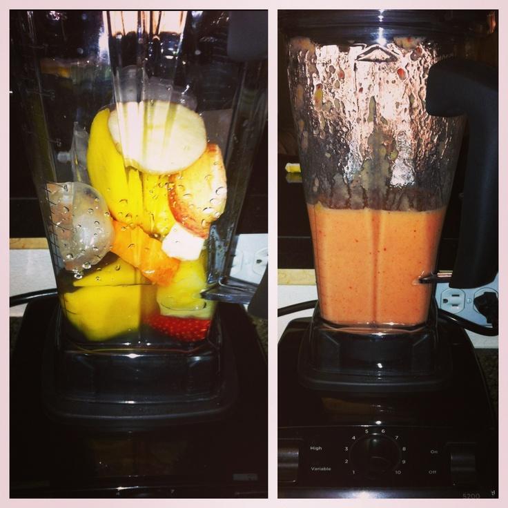 Strawberry, pineapple, mango, papaya, apple and coconut water. # ...