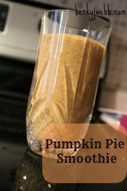 Pumpkin Pie Smoothie Recipe Ingredients: 1 Banana frozen 1 cup pureed pumpkin 2 T honey 2 ounces chocolate or chocolate chips (I like Enjoy Life) 2 T unsweetened shredded coconut 1 1/2 cup milk (preferable raw) 1 T Pumpkin pie spice