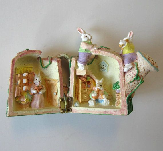 Vintage easter decor hinged bunny house toy easter for Rabbit decorations home